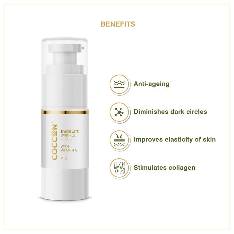 This is an image of InstaLift Wrinkle Filler from Coccoon on SublimeLife.in. It is anti-aging and improves elasticity of skin.