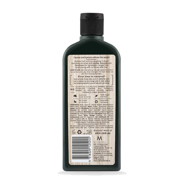 Shop Akin's Jojoba & Geranium Purifying Silicon Free Conditioner fro Sublime Life. Suitable for damaged hair.