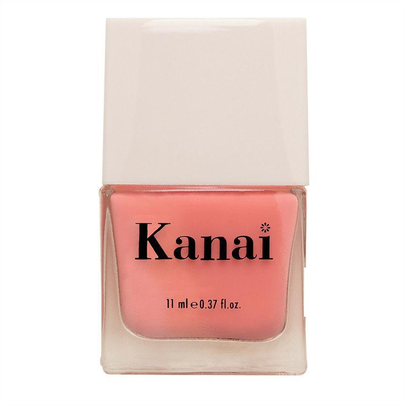 This is an image of Nail Paint - Anaaya from Kanai Organics on SublimeLife.in. The colour is coral pink and it is made from toxic-free ingredients.