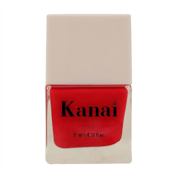 This is an image of Nail Paint - Blow by Blow from Kanai Organics on SublimeLife.in. The colour is as pink as a watermelon and is made from toxic-free ingredients.