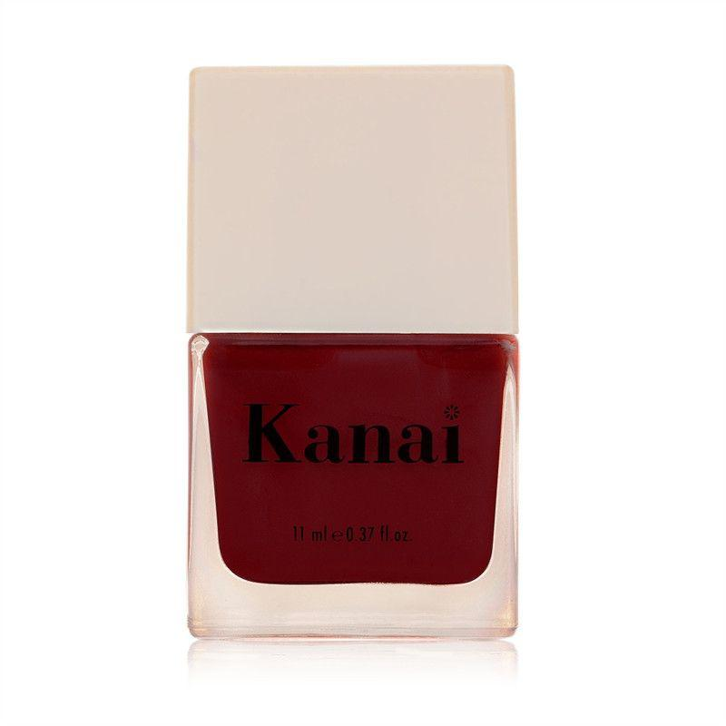 This is an image of Nail Paint - Matahari from Kanai Organics on SublimeLife.in. The colour is burgundy and is made of toxic-free ingredients.