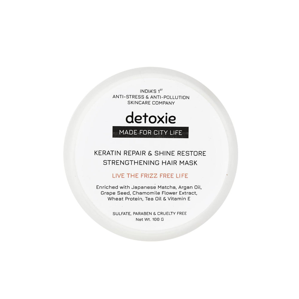 This is a image of  Detoxie Keratin Repair & Shine Restore Strengthening Hair Mask on www.sublimelife.in