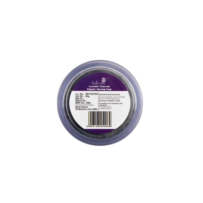 Shop Lavender Charcoal Shaving Soap from Rustic Art on SublimeLife.in. Best for flaunting your jawline!