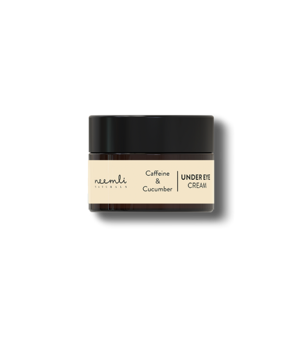 This is an image of Caffeine & Cucumber Under Eye Cream from Neemli Naturals on SublimeLife.in. This under eye cream targets puffiness, dark circles and fine lines.
