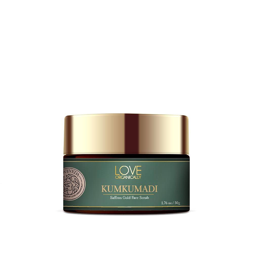 This is a image of Love Organically's Kumkumadi Saffron Gold Face Scrub at www.sublimelife.in