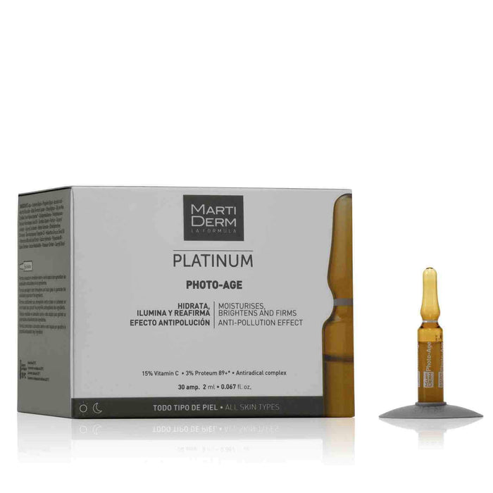 This is an image of Photo Age ampoules from the brand MartiDerm proved the effectiveness of vitamin c on skin by performing apple test