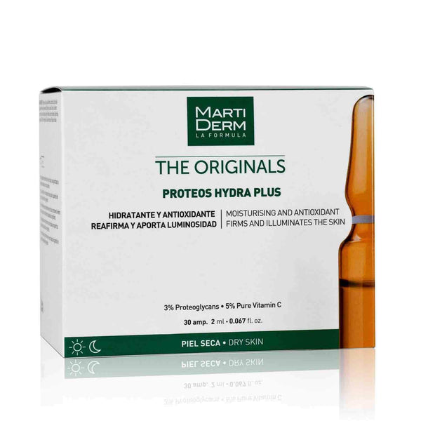 This is an image of Proteos Hydra Plus 30 Ampoules-Hydration from Martiderm on SublimeLife.in. It is made from Proteoglycans and 5% Vitamin C.