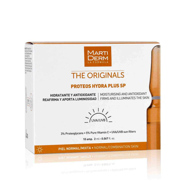 This is an image of Proteos Hydra Plus SP 10 Ampoules-Brightening and Hydration from Martiderm on SublimeLife.in. It is made from Proteoglycans and Vitamin C.