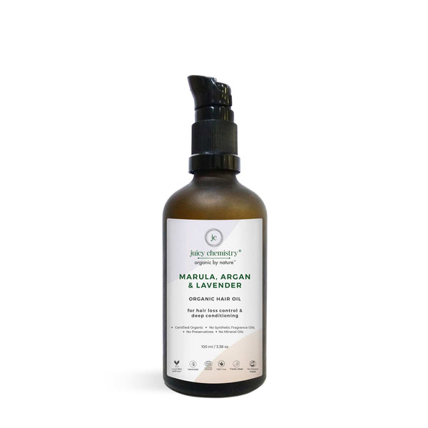 Shop Organic Hair Oil from Juicy Chemistry on SublimeLife.in. Best for preventing hair loss and stimulating hair growth.