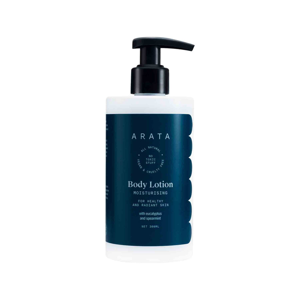 This is an image of Arata Moisturising Body Lotion for Dry Skin with Shea Butter, Cocoa Butter on www.sublimelife.in