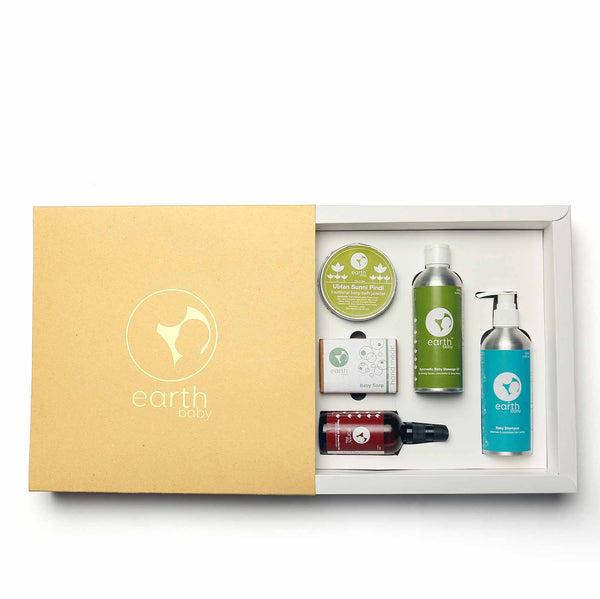 Shop Naming Ceremony Hamper from earthBaby on SublimeLife.in. Best for moisturising and toning the baby's muscles.
