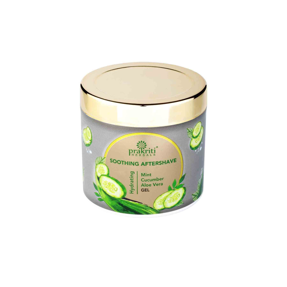 This is an image of Prakriti Herbals Mint Cucumber Aloe Vera Aftershave Gel on www.sublimelife.in