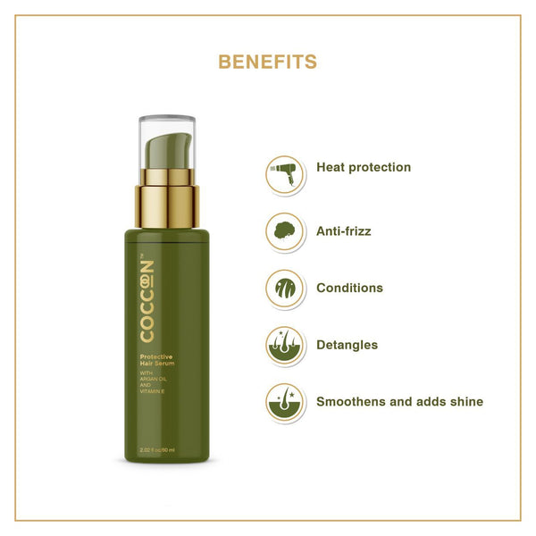This is an image of Protective Hair Serum from Coccoon on SublimeLife.in. Helps in heat protection, anti-frizz and smoothens hair.