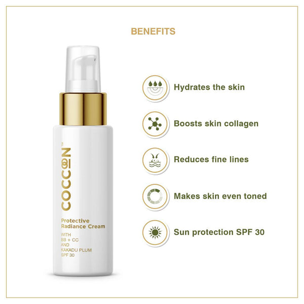 This is an image of Protective Radiance Cream from Coccoon on SublimeLife.in. It hydrates skin, provides sun protection and makes skin even toned.