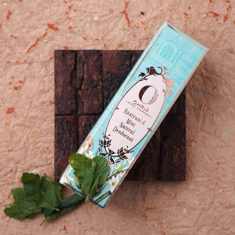 Shop Raatrani and Mint Natural Deodorant from Ohria Ayurveda on SublimeLife.in. Best for an even skin tone.