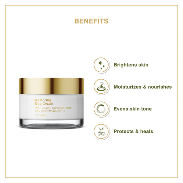 This is an image of Restoring Day Cream from Coccoon on SublimeLife.in. The benefits of using this cream include brightness, moisture and nourishment of the skin.