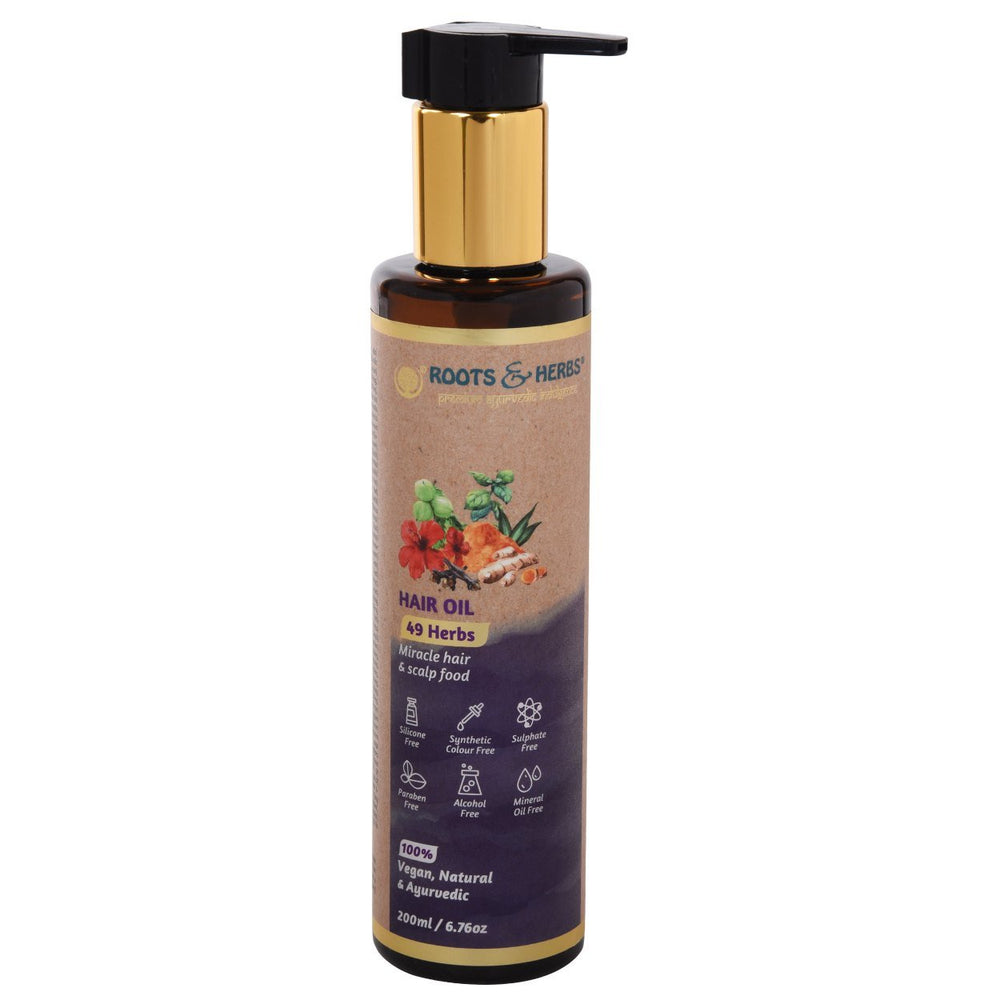 This is an image of Roots & Herbs 49 Herbs Hair Oil on www.sublimelife.in