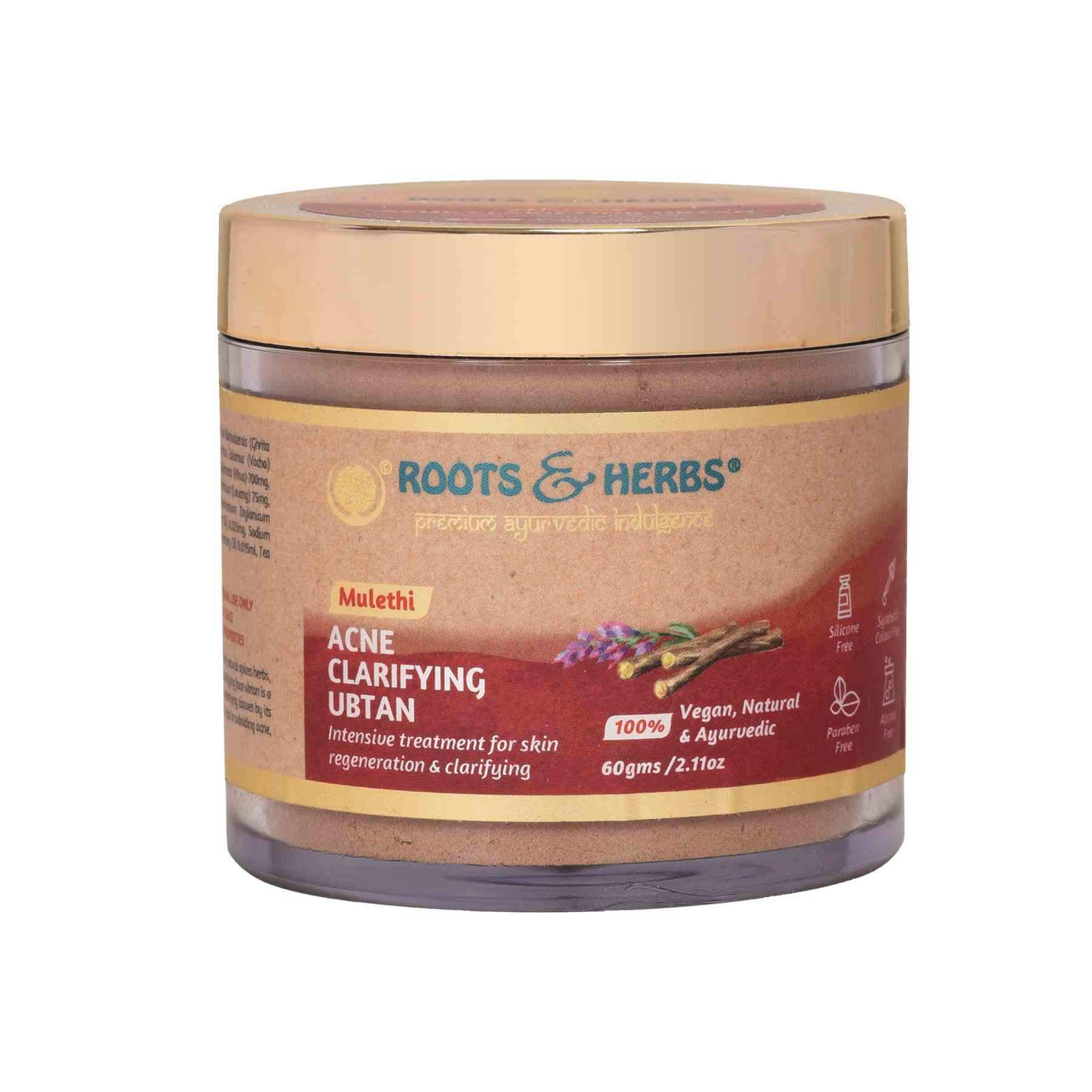 This image is of Roots & Herbs Mulethi Acne Clarifying Ubtan