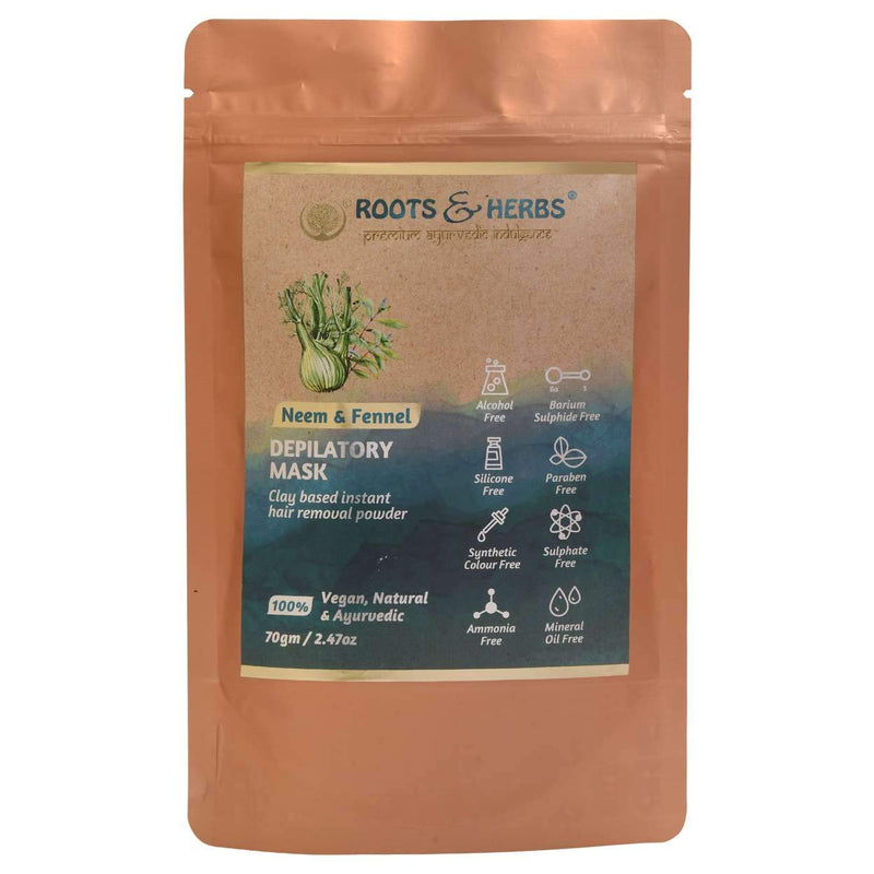 Shop Neem & Fennel Depilatory Mask from Roots & Herbs on SublimeLife.in. Best for fine and less hair growth.