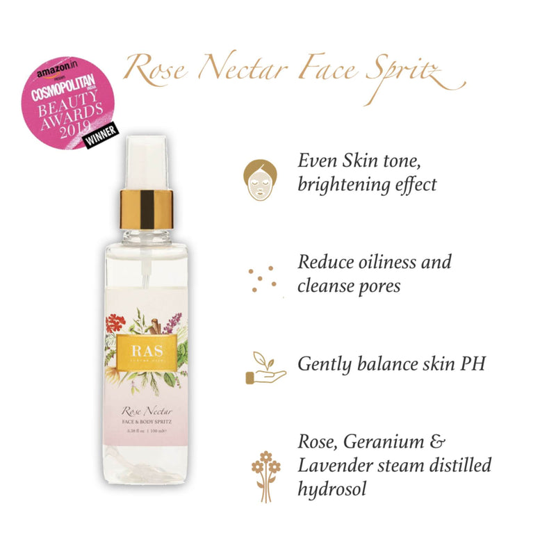 Shop Rose Nectar Face Mist & Toner from Ras Luxury Oils on SublimeLife.in. Best for toning, tightening and hydrating skin.