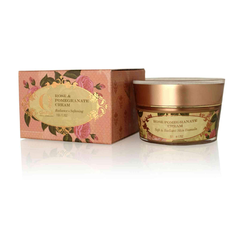 This is an image of Rose & Pomegranate Cream from Ohria Ayurveda with sustainable packaging. Shop from SublimeLife.in.