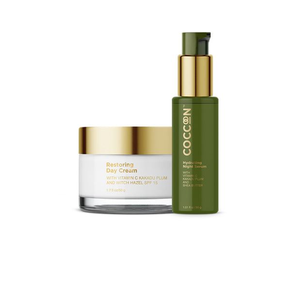 This is an image of Round The Clock Glow Combo from Coccoon on SublimeLife.in. This combo keeps skin moisturised.