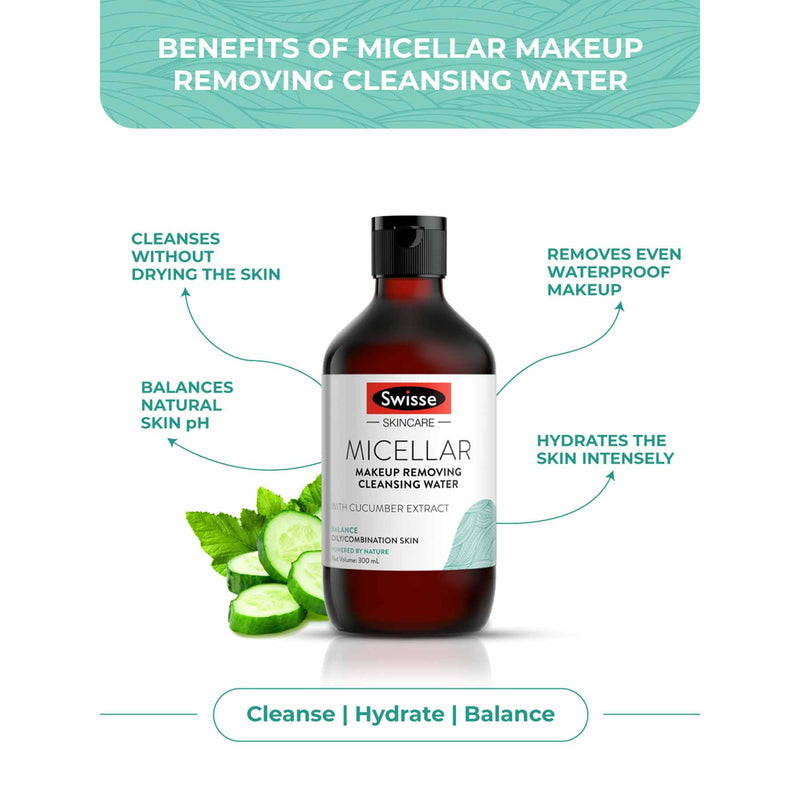 Shop Balanced Micellar Cleansing & Makeup Removing Water from Swisse on SublimeLife.in. Best for a clean and hydrated skin.