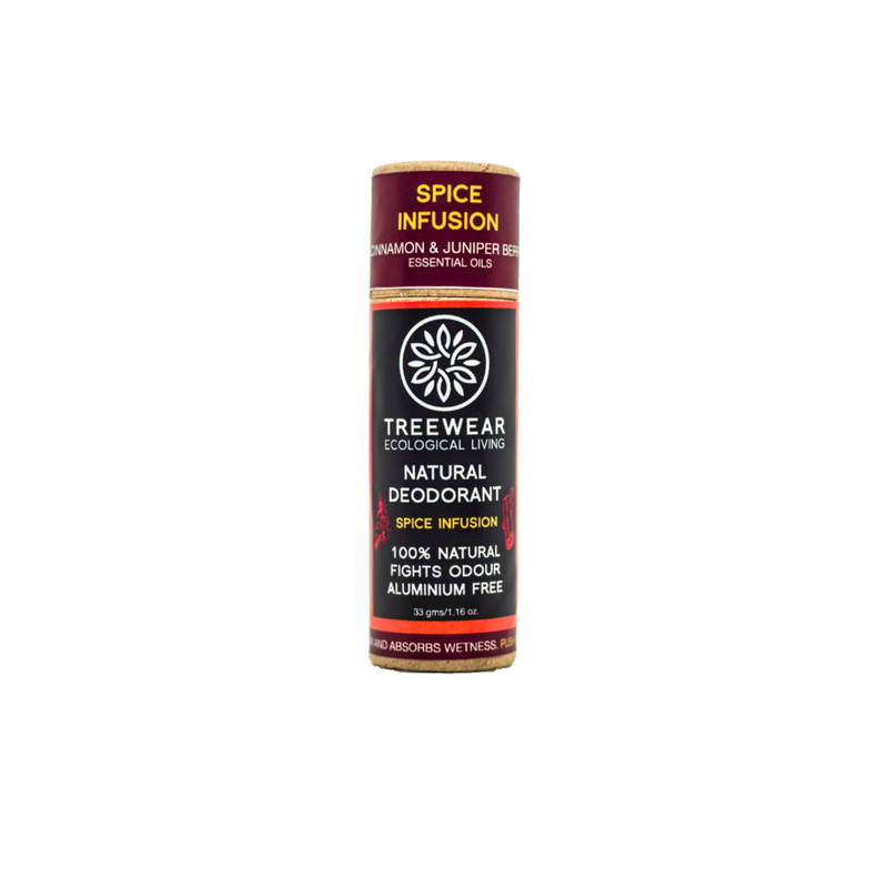 This is an image of Spice Infusion roll on Natural Deodorant from TreeWear on SublimeLife.in. Provides protection against odour and wetness while being gentle on the skin.