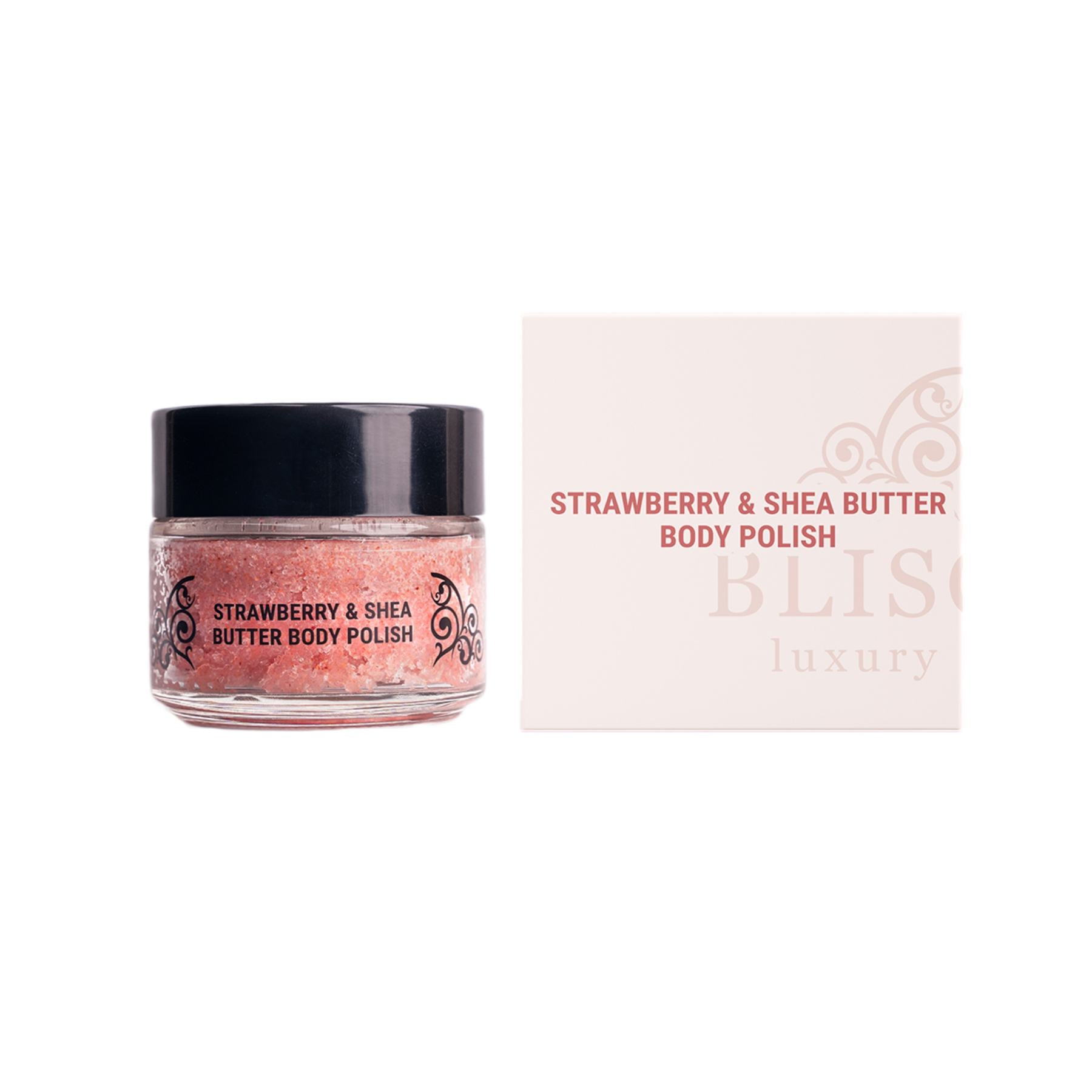 This is an image of Strawberry and Shea butter body polish from Bliscent on www.sublimelife.in.