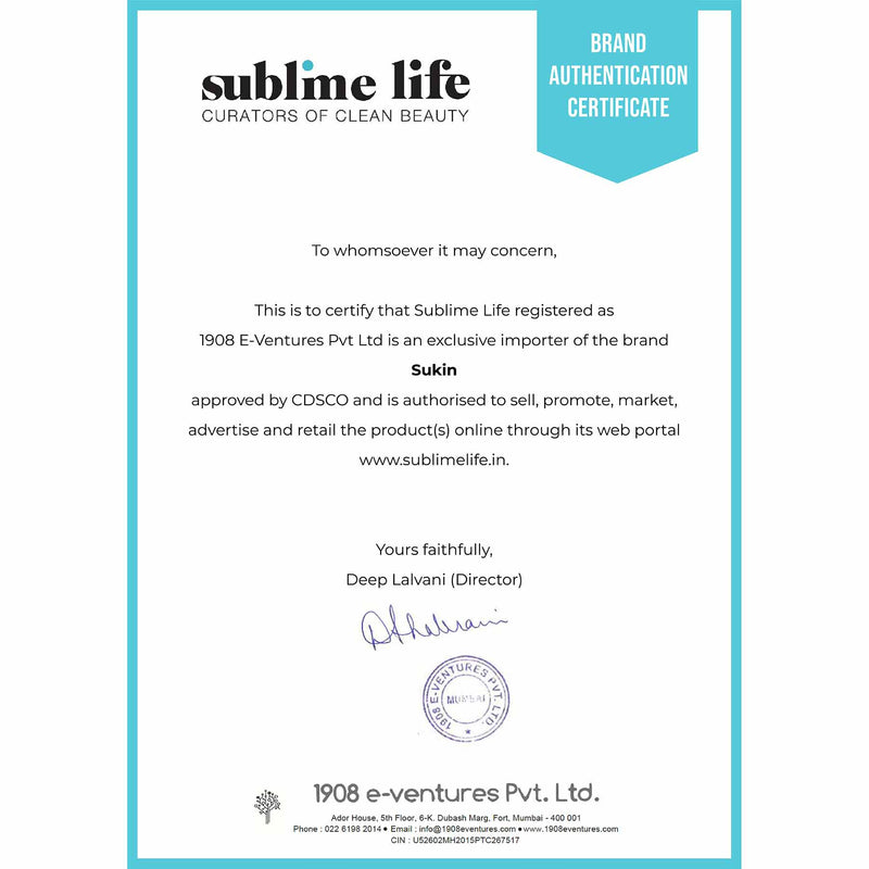 Brand Authentication Certificate-Sukin
