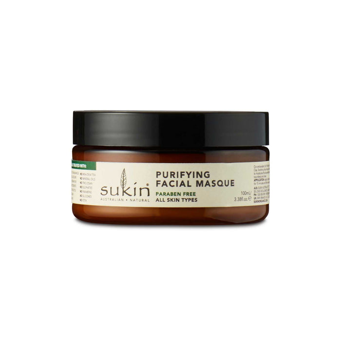 This is a product image of a purifying mask from the brand Sukin.
