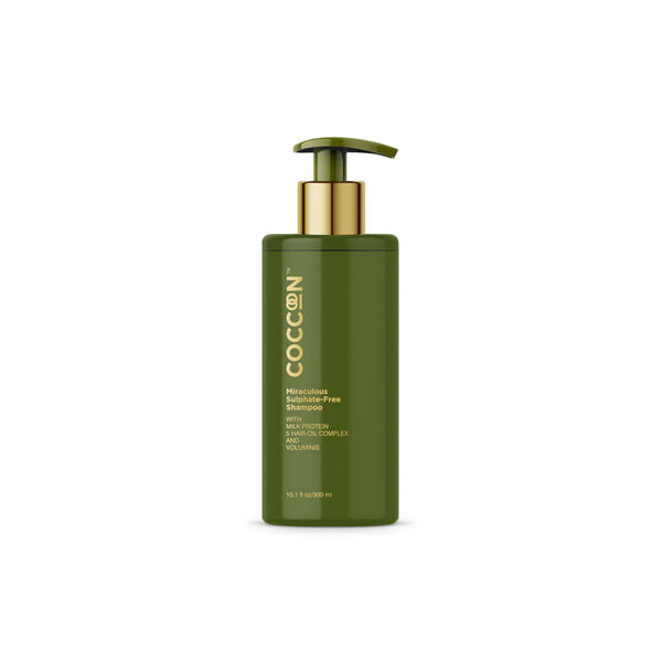 This is an image of The Miraculous Sulphate -Free Shampoo from Coccoon on SublimeLife.in. This strenghtens your hair as well as makes you have thicker and fuller hair.