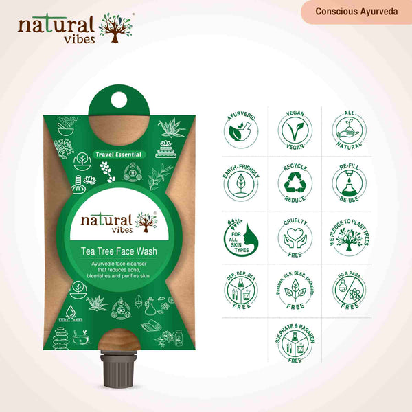 Natural Vibes Ayurvedic Tea Tree Face Wash(Travel Essential)