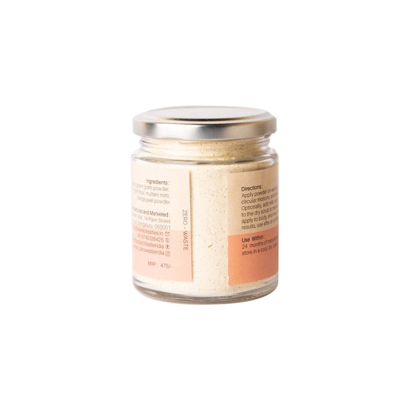 This is an image of Terracotta Body Scrub from Bare Necessities on SublimeLife.in. It is made of Multani Mitti, Orange Peel Powder and Organic Gram Powder.