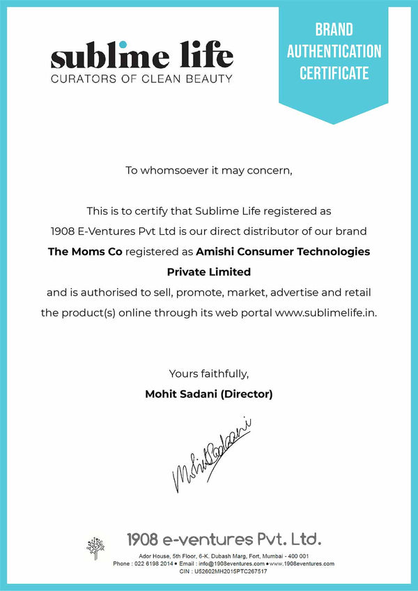 Brand Authentication Certificate-The Mom's Co