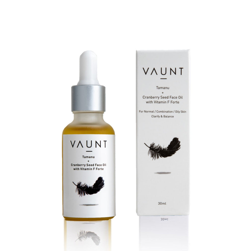 This is an image of Vaunt Tamanu Cranberry Seed Face Oil With Vitamin F Forte on www.sublimelife.in