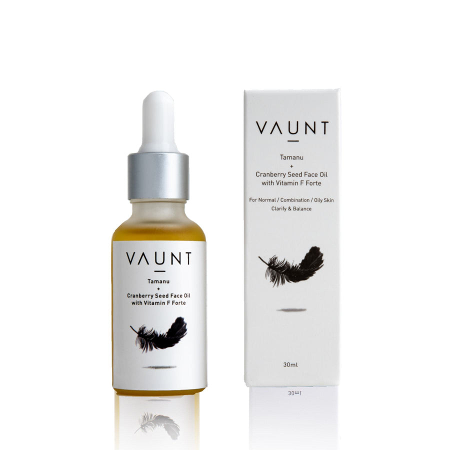 This is an image of the vaunt TAMANU+CRANBERRY SEED FACE OIL WITH VITAMIN F FORTE on www.sublimelife.in