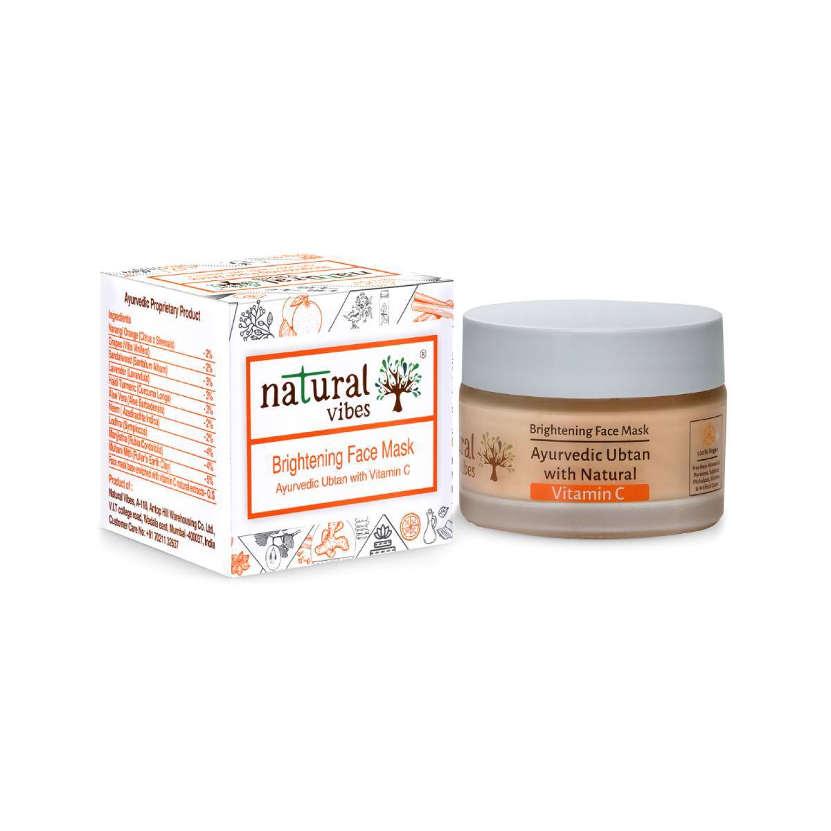 This image is of Natural Vibes Ayurvedic Vitamin C Brightening Face Mask