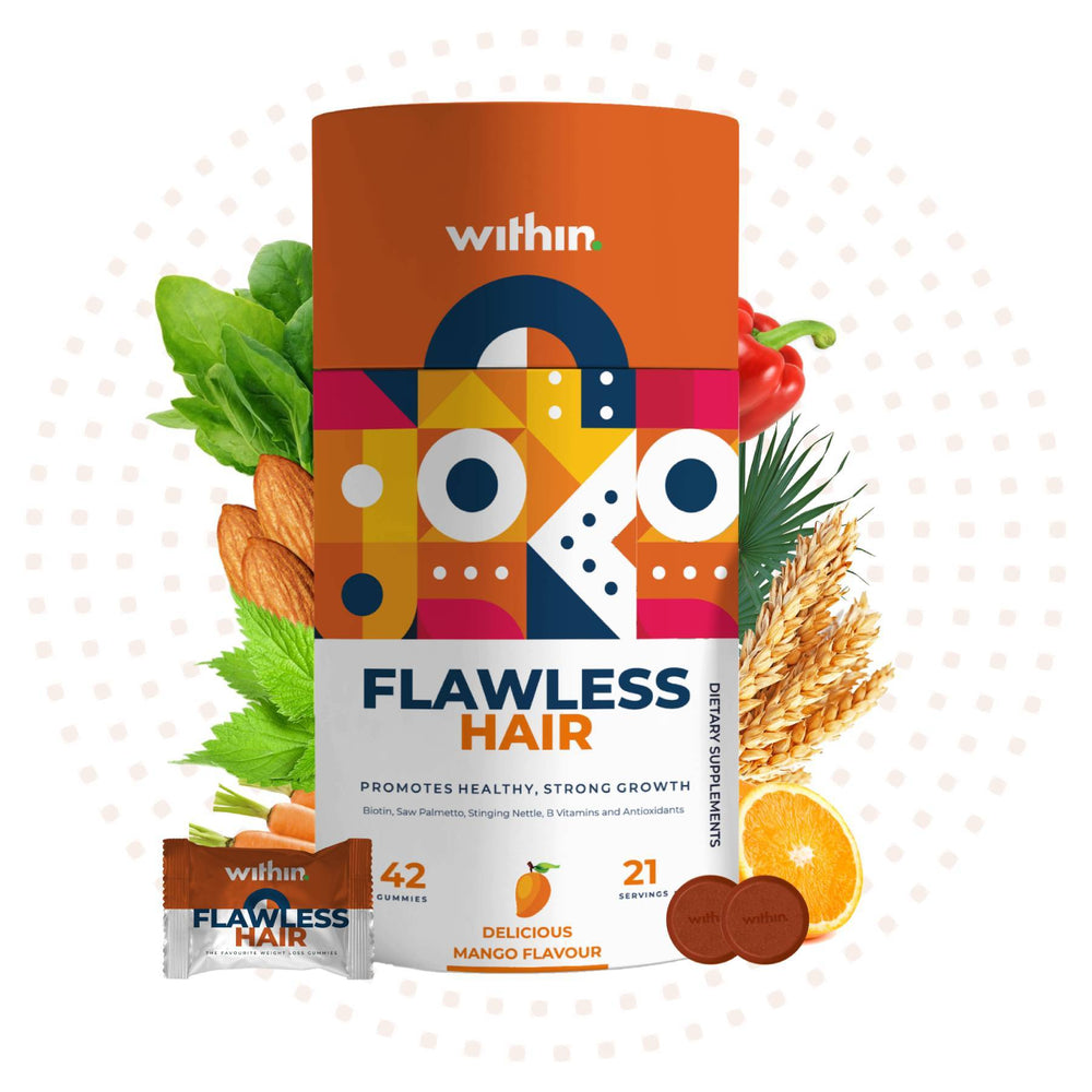 This is an image of Within Nutrition Flawless Hair Gummies on www.sublimelife.in