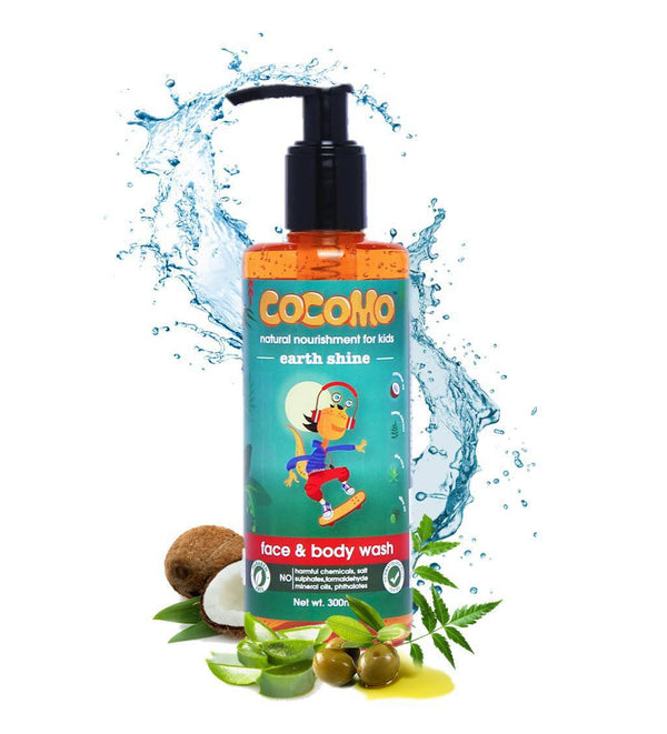 This is an image of Earth Shine Face & Body wash 300ml from Cocomo on SublimeLife.in. It is made from Coconut oil, Olive oil, Neem and Aloe Vera.