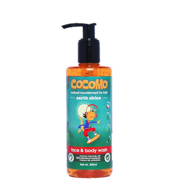 This is an image of Earth Shine Face & Body wash 300ml from Cocomo on SublimeLife.in. Removes dirt and excess oil from the child's skin while nourishing it.