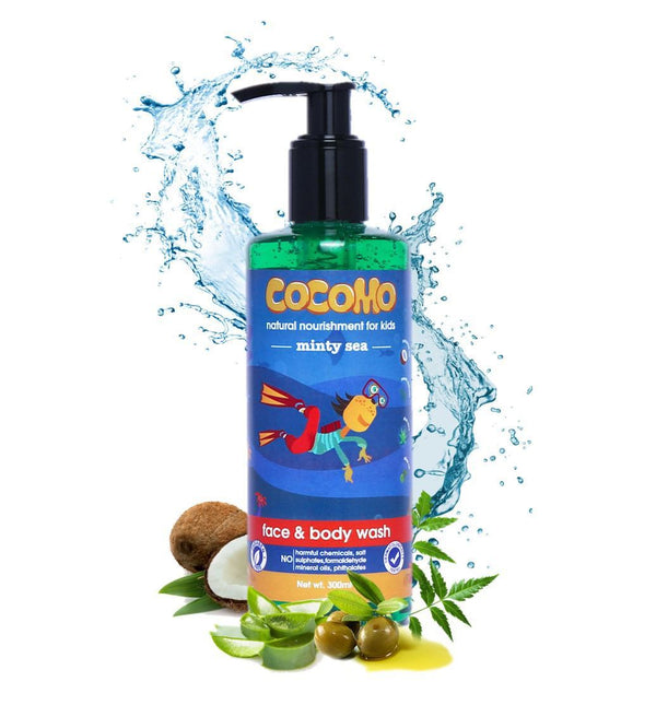 This is an image of Minty Sea Face & Body Wash 300ml from Cocomo on SublimeLife.in. It is made from Coconut Oil, Olive Oil, Neem and Aloe Vera.