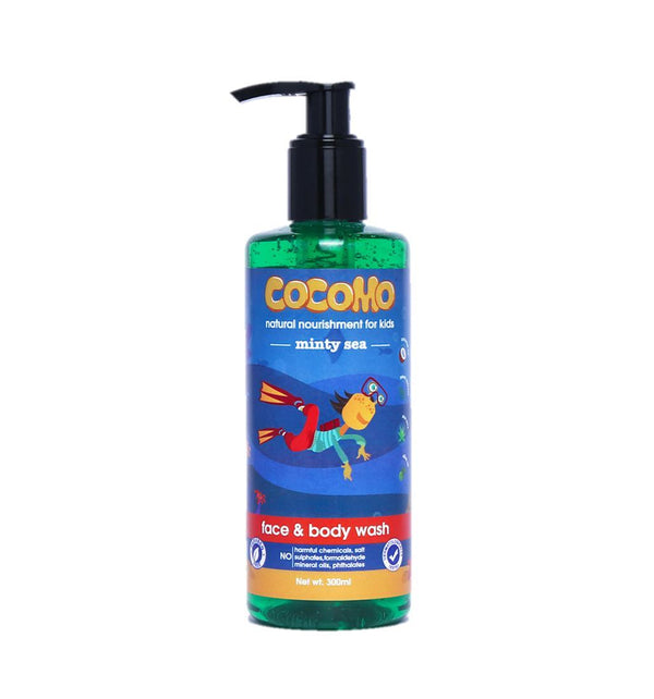 This is an image of Minty Sea Face & Body Wash 300ml from Cocomo on SublimeLife.in. Moisturises child's sensitive skin without drying it.