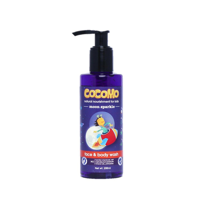 This is an image of Moon Sparkle Face & Body Wash 200ml from Cocomo on SublimeLife.in. Moisturises and nourishes your child's skin.
