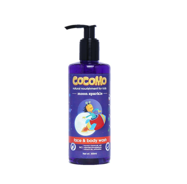 This is an image of Moon Sparkle Face & Body Wash 300ml from Cocomo on SublimeLife.in. Moisturises and nourishes your child's skin.
