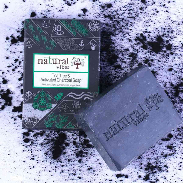 Shop Tea Tree and Activated Charcoal Soap from Natural Vibes on SublimeLife.in. Best for fighting acne and unclogs pores.