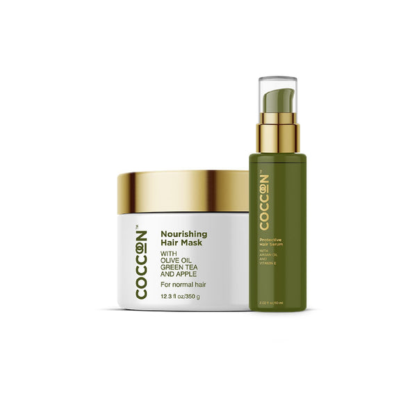This is an image of The Nourishing Hair Combo from Coccoon on SublimeLife.in. This is the perfect salon-style pampering your hair needs.