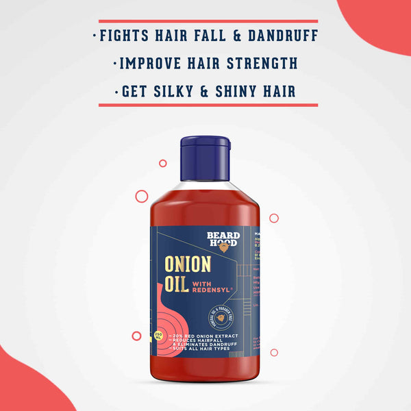 Shop  Onion Oil from Beardhood on SublimeLife.in. Best for fighting receding hairline and gifting yourself voluminous hair.