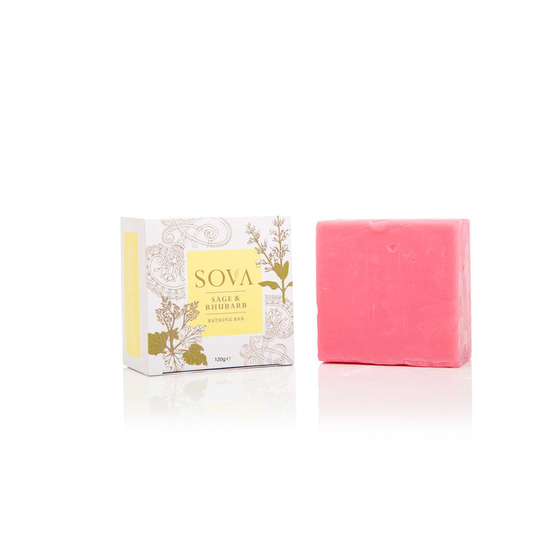 This is an image of Sage & Rhubarb Bathing Soap from Sova on SublimeLife.in. Detoxifies skin and reverses signs of aging.