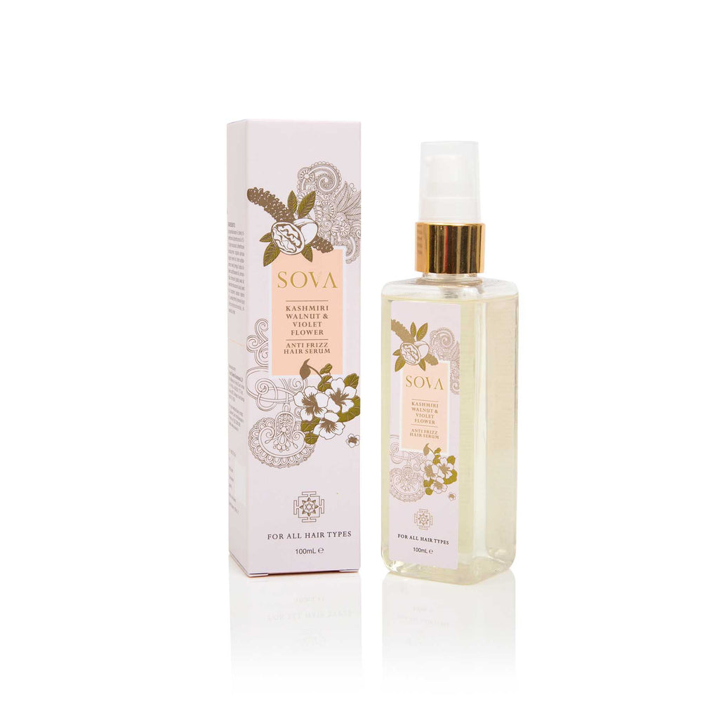This is an image of Sova Kashmiri Walnut & Violet Flower Anti Frizz Hair Serum on www.sublimelife.in